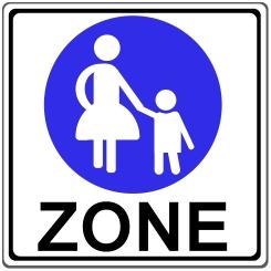 Fußgängerzone: Ein Schild markiert den Beginn des Fußgängerbereiches.